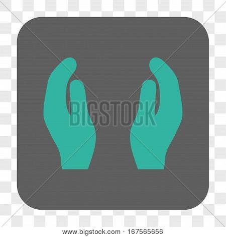 Applause Hands interface toolbar button. Vector icon style is a flat symbol on a rounded square button cyan and gray colors chess transparent background.