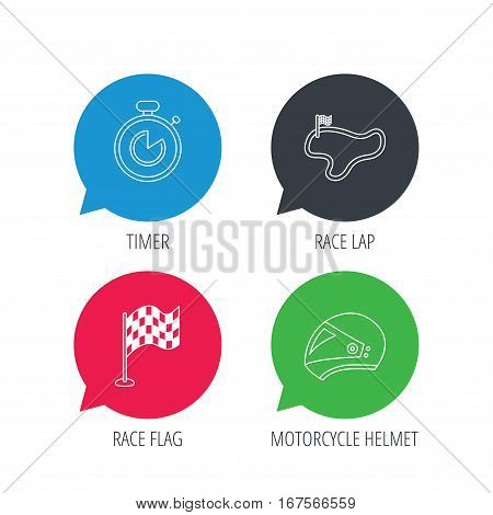 Colored speech bubbles. Race flag, timer and motorcycle helmet icons. Race lap linear sign. Flat web buttons with linear icons. Vector