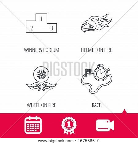 Achievement and video cam signs. Winner podium, race timer and wheel on fire icons. Motorcycle helmet on fire linear sign. Calendar icon. Vector