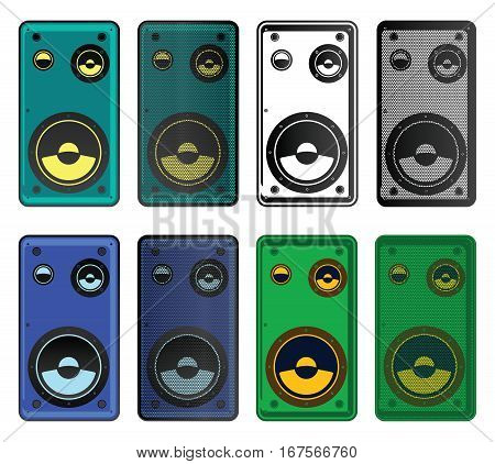 Stylized vector illustration of modern speakers of different colors