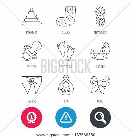 Achievement and search magnifier signs. Pacifier, diapers and newborn icons. Footprint, socks and dirty bib linear signs. Pyramid toy, cradle bed flat line icons. Hazard attention icon. Vector