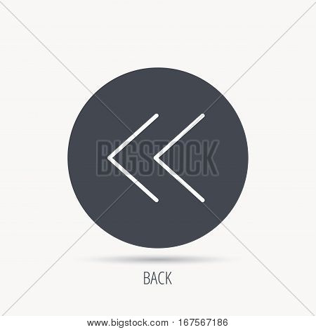 Back arrow icon. Previous sign. Left direction symbol. Round web button with flat icon. Vector