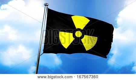 Radioactive warning flag, 3D rendering