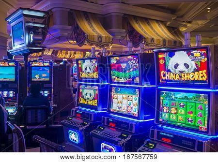 LAS VEGAS - NOV 24 : Bellagio hotel and casino on November 24 2016 in Las Vegas. Bellagio is a luxury hotel and casino located on the Las Vegas Strip. The Bellagio opened on 1998.