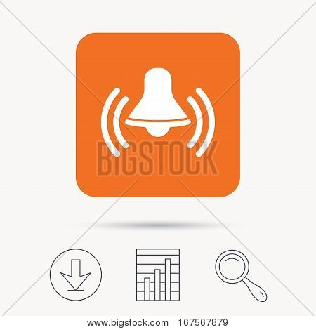 Bell icon. Reminder alarm signal symbol. Report chart, download and magnifier search signs. Orange square button with web icon. Vector