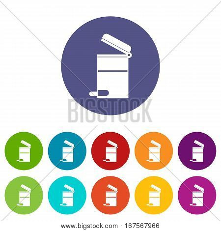 Steel trashcan set icons in different colors isolated on white background