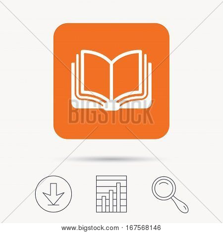 Book icon. Study literature sign. Education textbook symbol. Report chart, download and magnifier search signs. Orange square button with web icon. Vector
