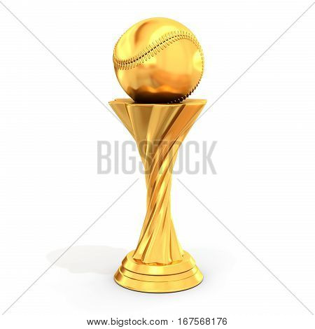 Golden Trophy With Baseball