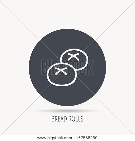Bread rolls or buns icon. Natural food sign. Bakery symbol. Round web button with flat icon. Vector