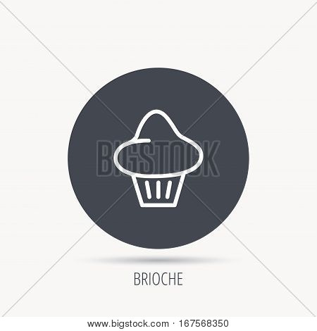Brioche icon. Bread bun sign. Bakery symbol. Round web button with flat icon. Vector
