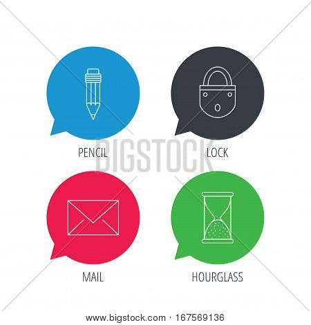 Colored speech bubbles. Mail envelope, pencil and lock icons. Hourglass linear sign. Flat web buttons with linear icons. Vector