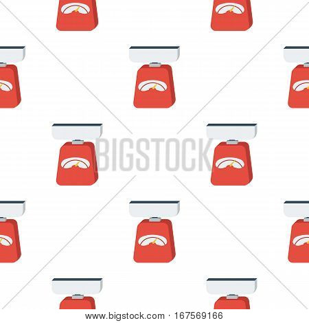 Kitchen scale icon in flat style isolated on white background. Kitchen pattern vector illustration.