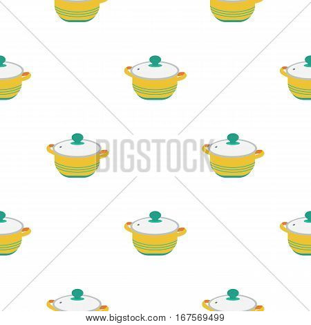 Stockpot icon in flat style isolated on white background. Kitchen pattern vector illustration.