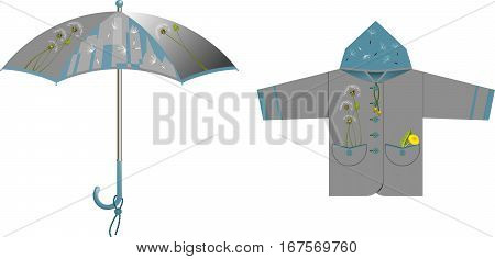 A set of clothes and accessories for rainy weather - umbrella raincoat (jacket) with decorative accents on the subject of dandelion