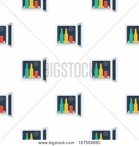 Mini-bar icon in flat style isolated on white background. Kitchen pattern vector illustration.