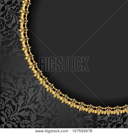 antique background with golden ornaments - vector illustration