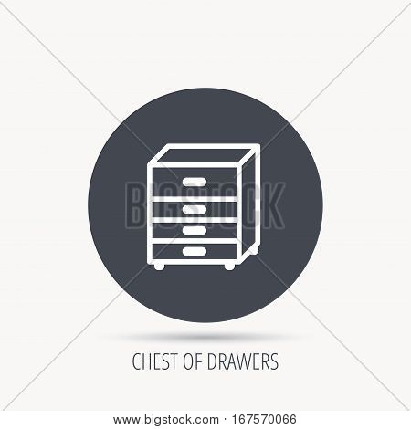 Chest of drawers icon. Interior commode sign. Round web button with flat icon. Vector