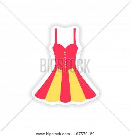 concept stylish paper sticker on white background dress