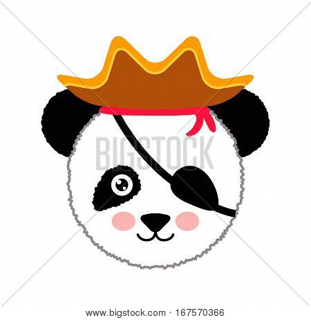 Cute panda pirate hat. Vector Illustration Isolated On White Background