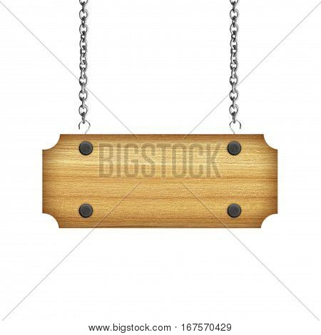 Wooden sign hanging on a chain isolated on white background