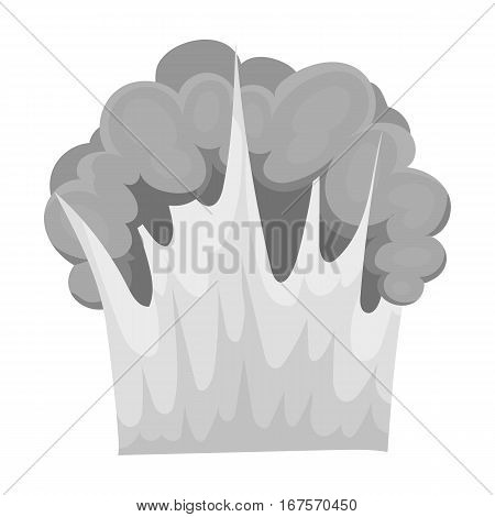 Nuclear explosion icon in monochrome design isolated on white background. Explosions symbol stock vector illustration.