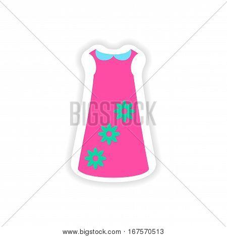 stylish paper sticker on white background dress