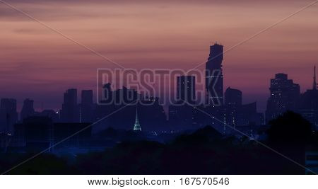 Mahanakorn tower city center business of Bangkok. sunset Silom area Bangkok.Panoramic and perspective wide high rise building skyscraper commercial city of future. Business success industry tech.