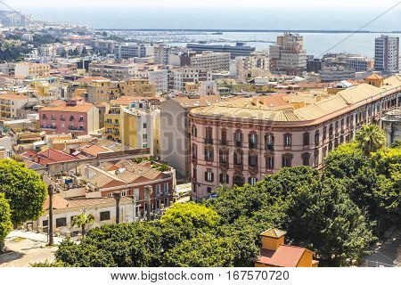 Aerial View Of Cagliari Old Town, Sardinia, Italy