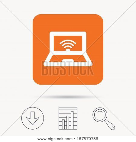 Computer with wifi icon. Notebook or laptop pc symbol. Report chart, download and magnifier search signs. Orange square button with web icon. Vector