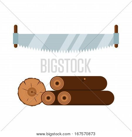 Lumberjack cartoon tools icons vector illustration. Timber saw isolated on white background. Wood material nature industry design. Cutting deforestation elements equipment