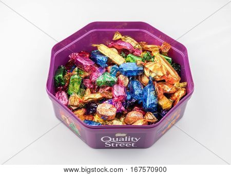 CHESTER UK - JANUARY 28TH 2017: A close-up of the Nestle Quality Street tub with lid off