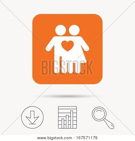 Couple love icon. Traditional young family symbol. Report chart, download and magnifier search signs. Orange square button with web icon. Vector