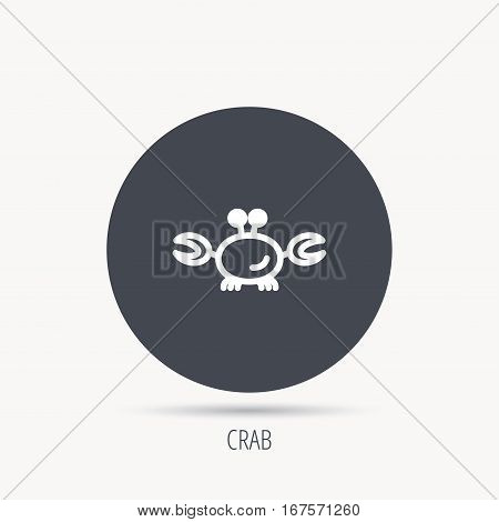 Crab icon. Cancer shellfish sign. Wildlife symbol. Round web button with flat icon. Vector