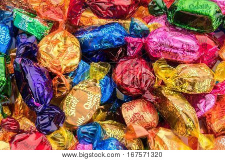 CHESTER UK - JANUARY 28TH 2017: A close-up of the Nestle Quality Street chocolates