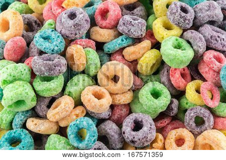 Coloured Fruit flavoured Loop breakfast cereal background