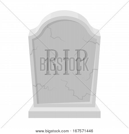 Headstone icon in monochrome design isolated on white background. Funeral ceremony symbol stock vector illustration.