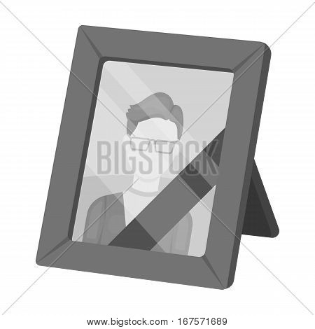 Portrait of deceased person icon in monochrome design isolated on white background. Funeral ceremony symbol stock vector illustration.