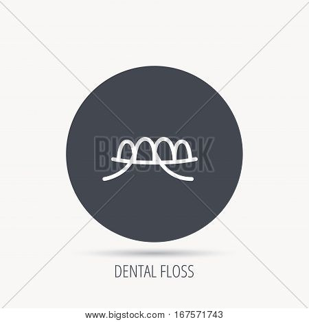 Dental floss icon. Teeth cleaning sign. Oral hygiene symbol. Round web button with flat icon. Vector