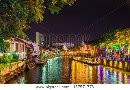 The old town of Malacca and the Malacca river. UNESCO World Heritage Site in Malaysia