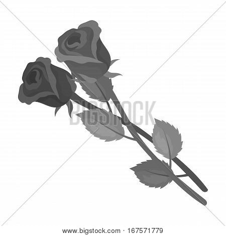 Two roses icon in monochrome design isolated on white background. Funeral ceremony symbol stock vector illustration.