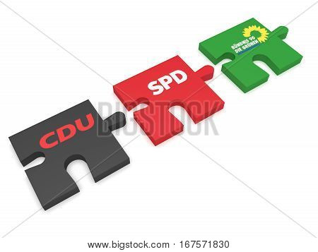 BERLIN GERMANY - JANUARY 30 2017: German Politics Coalition Formation Concept: Puzzle Pieces CDU SPD And The Greens 3d illustration on white background