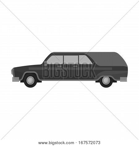 Hearse icon in monochrome design isolated on white background. Funeral ceremony symbol stock vector illustration.