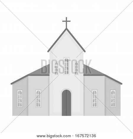 Church icon in monochrome design isolated on white background. Funeral ceremony symbol stock vector illustration.