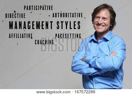 Management styles concept. Mature businessman on gray background