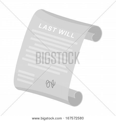 Last will icon in monochrome design isolated on white background. Funeral ceremony symbol stock vector illustration.