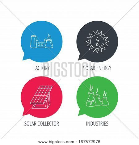 Colored speech bubbles. Solar collector energy, factory and industries icons. Solar energy linear signs. Flat web buttons with linear icons. Vector