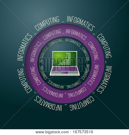 Colored vector abstract object and the words informatics computing