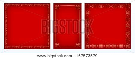Set of three vector red backgrounds with golden decorative borders, square and vertical format. Chinese style.