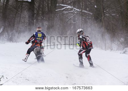 Klasterec Nad Orlici, Czech Republic - January 29: Motorcycle Skijoring Racers Ride On Track Of Czec