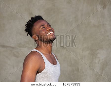 Sporty Muscular African Man Laughing